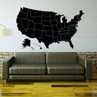 USA Map Wall Decal United States World Map Vinyl Design Travel Geography Gift Living Room Office Bedroom Home Decor Wall Art Stickers 0033
