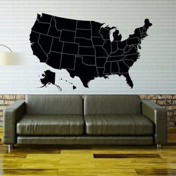 World Map Wall Decal Geographical World From CoolVinylDesign On - Us map wall decal