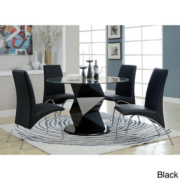 Furniture of America Contemporary Picazzo Round 48-inch Tempered Glass 5-piece Dining Set