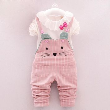 BibiCola baby girls clothing set fashion girls clothes  kids cotton tops+overalls 2pcs sports suit toddler girls casual costume