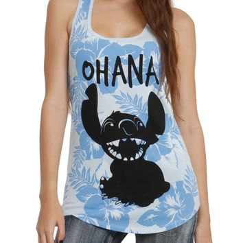 Licensed cool NEW Disney Lilo & Stitch OHANA Hawaii Flowers Racer Back Tank Top Hot Topic NEW