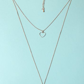 Heart Pendant Layered Necklace