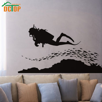 A Group Of Fish And Scuba Diving Wall Sticker Seafloor Home Decor Removable Vinyl Wall Art Decal For Living Room
