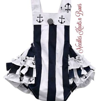 Girls Nautical Romper, Baby Girls Nautical Sunsuit, Girls Rompers, Spring Romper, Outfit