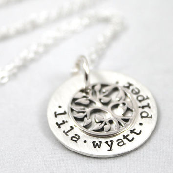 Mother's Day Gift, Tree of Life Necklace, Personalized necklace, for Mom or Grandma, All Sterling Silver