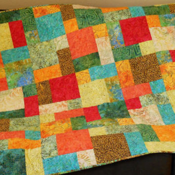Handmade Quilt in Tonga Punch Batiks, Lap Quilt, Throw Quilt, Sofa Throw, Quilted Blanket, Green Blue Orange Red Yellow Brown
