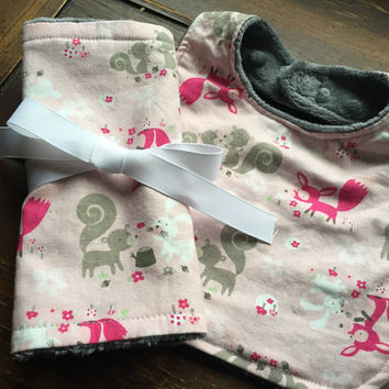 Woodland Creatures Burp Cloth and Baby Bib Set - Pink and Gray
