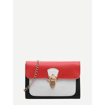 Colorblock Flap Chain Crossbody Bag