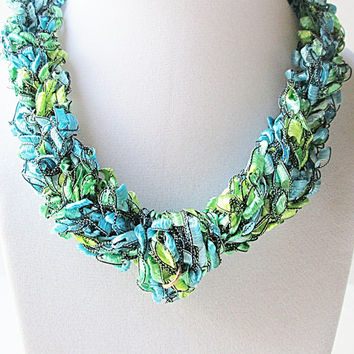 Colors Of The Sea Ladder Yarn Necklace, Trellis Yarn Necklace, Ribbon Yarn Necklace, Crocheted Necklace, Prom Necklace, Fiber Yarn Necklace