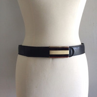 Vintage black calfskin belt with brown and cream buckle