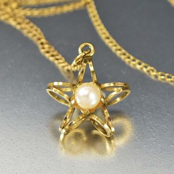 Vintage Cultured Pearl Gold Star Necklace