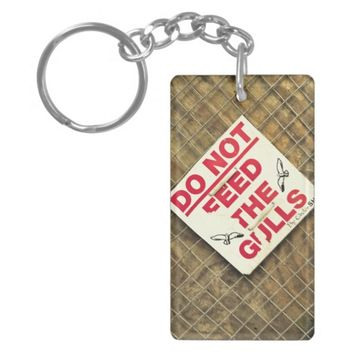 urban grunge red and white warning sign keychain