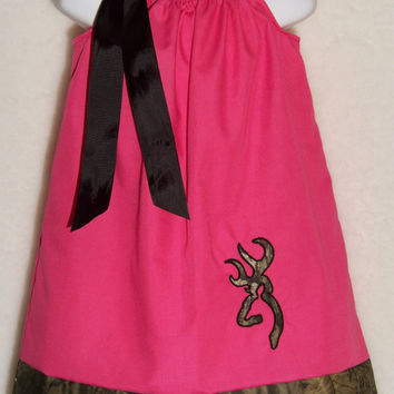 CAMO Pillowcase Dress / Hot Pink + Deer / Mossy Oak / Flower Girl / Newborn / Infant / Baby / Girl / Toddler / Custom Boutique Clothing