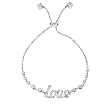 Silver Rhodium Finish Bead Stations+Curved love Element on Cable Chain Bracelet with Draw String Clasp