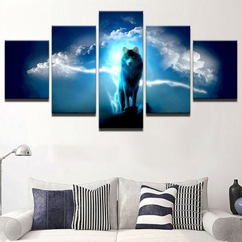 Wolf Night Sky wall Art on Canvas For Bedroom Living Room Home Wall Art Print