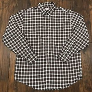 Brooks Brothers 346 Non Iron Red Glen Plaid Cotton Button Down Shirt Mens Large