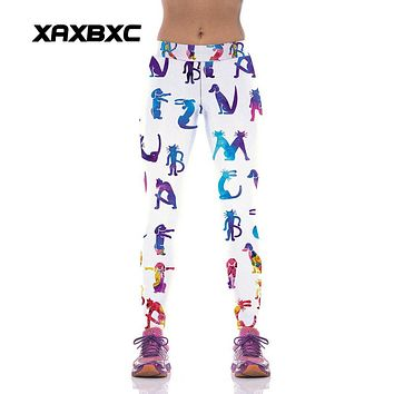 XAXBXC 1017 Fashion Animal Dog Cat 3D Prints High Waist Workout Silm Fitness Women Leggings Sexy Girl Elastic Pencil Pants