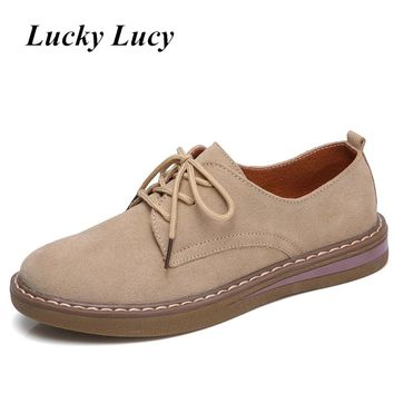 Hot Pig Suede Oxfords Dress Shoes Lace Up Round Toe Flat Shoes Women Non-Slip Wearable Summer Autumn Khaki Blue Womens Flats