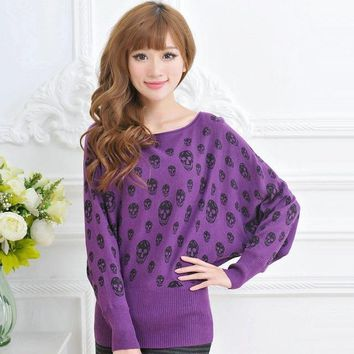 Skull Print Sweater Round Collar Bat Sleeve Loose