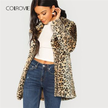 COLROVIE Leopard Print Streetwear Fuzzy Faux Fur Teddy Coat Women 2018 Autumn Fashion Office Warm Winter Elegant Lady Outwear