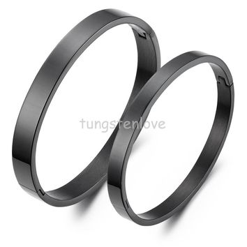 Bracelets & Bangles His or Hers matching bracelets for couples Lovers Black IP Stainless Steel Bangles brazaletes de acero