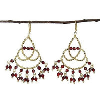 Maharaja Chandelier Earrings in Burgundy - WorldFinds