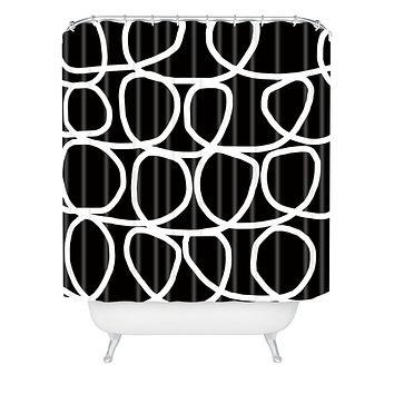 Natalie Baca Loop Di Doo In Black Shower Curtain