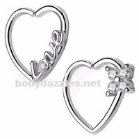 "Set of 2 ""Love"" Heart and Flower 16 Gauge Ear Cartilage/Daith Hoop Rings Helix Rook"
