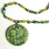 Green Floral Pendant Necklace by nancelpancel on etsy