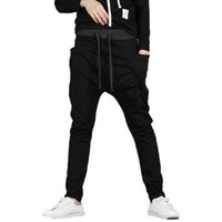 Casual Baggy Jogging Sports Harem Pants Fashion Trousers Black_29