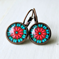 cheri drop earrings, copper, cabochon, red aqua, boho, flower, bohemian