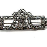 Art Deco Green Rhinestone Marcasite Brooch Pot Metal Pin