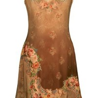 Michal Negrin Gorgeous V-Neck Brown Lycra Dress with Swarovski Crystals - Size M