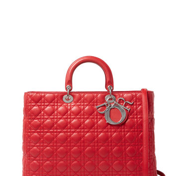 Christian Dior Women's Red Cannage Quilted Lambskin Lady Dior XL - Red