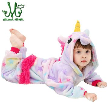 Unicorn Pyjamas kids Pajamas For Girls Bathrobe Cosplay Anime Animal Children Onesuit Boy Girl Sleepers Fleece Flannel 10 12 Year