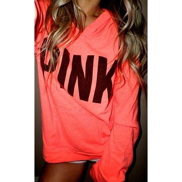 """Pink"" Victoria's Secret Fashion Casual Print Pattern Long Sleeve Hoodie Sweatshirt"
