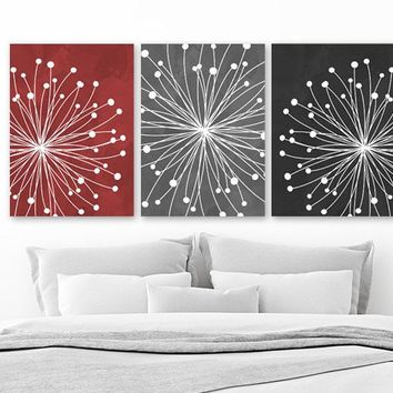 Red Gray Black Bedroom Wall Decor, Watercolor DANDELION Wall Art, CANVAS or Prints, Gray Red Black Bathroom Decor, Dandelion Decor Set of 3