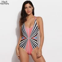 Summer One Piece Swimsuit Women Sexy Backless Swimwear Light Color Striped Stretch Beach Bodysuit Bathing Suits Plus Size