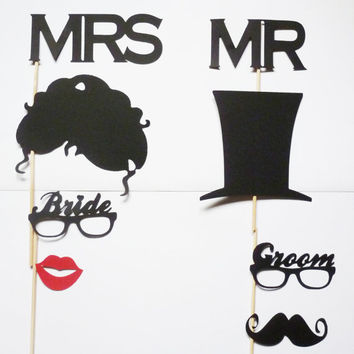 MR . MRS . Photo Booth Props Bride and Groom Set Hat Hair Mustache Lips Mustashe bash photo prop