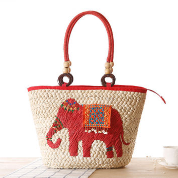 Bohemia Straw Weave Bag National Style Summer Animal Elephant Weave Beach Shoulder Bags Tote  Large Capacity