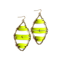 Geometric Neon Yellow Leather Bar Earrings, Bright Geometric Jewelry | Boo and Boo Factory - Handmade Leather Jewelry