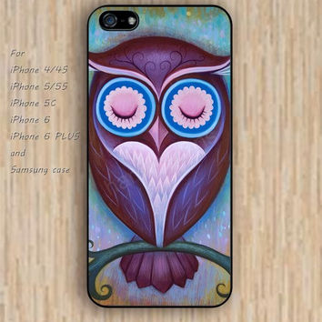 iPhone 5s 6 case colorful sleepy owl Dream colorful phone case iphone case,ipod case,samsung galaxy case available plastic rubber case waterproof B498