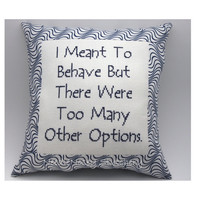 Cross Stitch Pillow Funny Quote Navy Blue Pillow by NeedleNosey