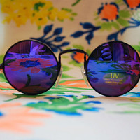 The Lennon II | Vintage Hippie Circle Black Rainbow Sunglasses Retro Round Glasses Revo Mirror Lenses