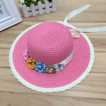 PEAP78W 1 Pcs Joker Fashion Women Summer Sun Hat The Flower Bow Parent-Child Straw Hat Beach Hat For Women And Girl 6 Colors
