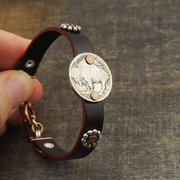 Leather buffalo nickel bracelet, mixed metal silver copper, coin jewelry, cuff, 7 3/4 inches