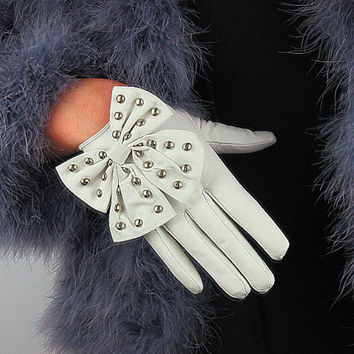 Real Leather Short Gloves - White - Sheepskin - Women - Lady Gaga Rock Rivets Stud Bows - Handmade Genuine Leather - Improved Quality