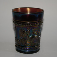 Vintage Amethyst Carnival Glass Northwood Peacock At The Fountain Pattern Tumbler 1920s