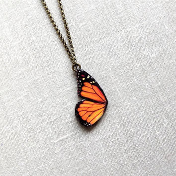 Free Shipping Worldwide, Monarch Butterfly Wing Necklace, Butterfly necklace, Butterfly Jewelry,Butterfly wing necklace, summer jewelry