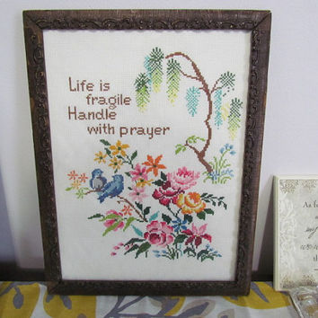 Vintage Framed  Cross Stitched Sampler